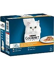 Gourmet Perle Mini Filets Kattenvoer, Natvoer met Kalkoen, Tonijn, Eend of Lam in Saus, doos van 4 (48 portiezakjes; 4,08kg)