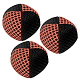 Speevers Xballs Juggling Balls Professional Set of 3 Fresh Design - 10 Beautiful Colors Available - 2 Layers of Net Carry Case - Choice of The World Champions! (Black - Orange, 110g)