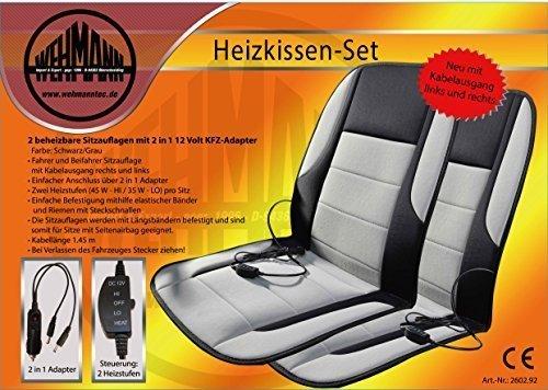 Wehmann Heizkissen Autoheizkissen Set 2-teilig Neuheit Fahrer und Beifahrer Kabelausgang rechts und Links