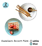[ 2PACK ] Enamelware Dessert Plate with Rippled Edge, Tea Snack Party Plates for Parties, Enamel Relish Dishes Chip, Appetizer Plates for Cheese, Condiments, Sauce, Creative Restaurant Kitchen