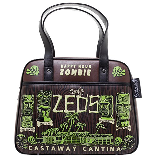 Sourpuss–Rockabilly Zombie–CASTAWAY cantina bombetta borsa da donna borsa a tracolla