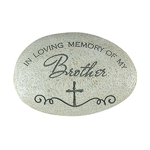 In Loving Memory of My Brother Cross Grey 3.5 x 5.5 Resin Stone Outdoor Garden Remembrance Rock