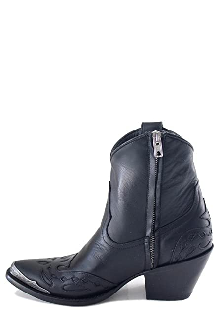 "Mandy Metal 7"" Black Womens Ankle Boots L2868-1"