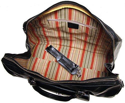 Floto Monteverde Duffle Black Italian Leather Weekender Travel Bag