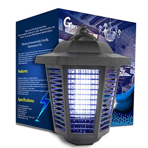 Garsum Bug Zapper,Powerful Electric Fly Trap - 20 Watts, Covers 1-1/2 Acre. - Fly Killer, Insect Killer, Mosquito Killer - Great for Backyard, Patio, Porch and Garden.Easy to Clean