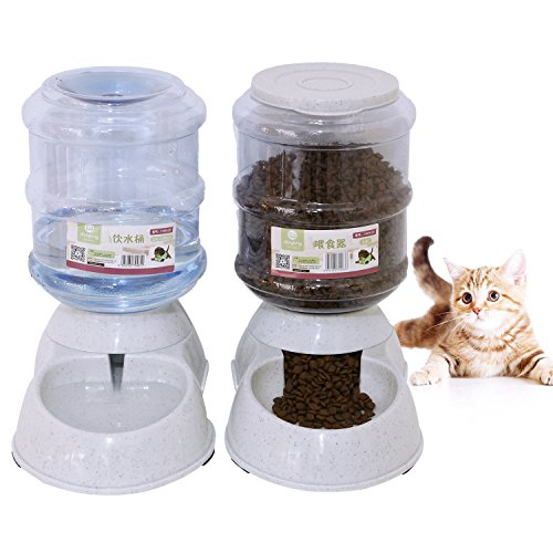 51n4upqHqrL - Betwoo Pet Feeder Waterer,Cat Food And Water Dispenser,Automatic Gravity Replenish Set,0.92 Gal