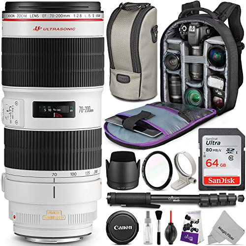 Canon EF 70-200mm f/2.8L is II USM Telephoto Zoom Lens w/Advanced Photo and Travel Bundle - Includes: Altura Photo Backpack, Monopod, UV Protector, SanDisk 64GB C10 SD - Authorized Dealers Canon
