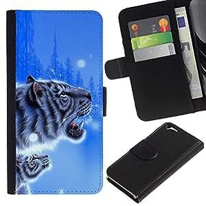 """Apple (4.7 inches!!!) iPhone 6 , la tarjeta de Crédito Slots PU Funda de cuero Monedero caso cubierta de piel ("""" Tiger Blue Winter Poster Cub Snow Nature"""")"""