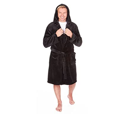 1bc60ee0d4 Mens Luxury Snuggle Fleece Hooded Dressing Gown (Sizes M-2XL) Thick Warm  Plush Bath Robe Pierre Roche