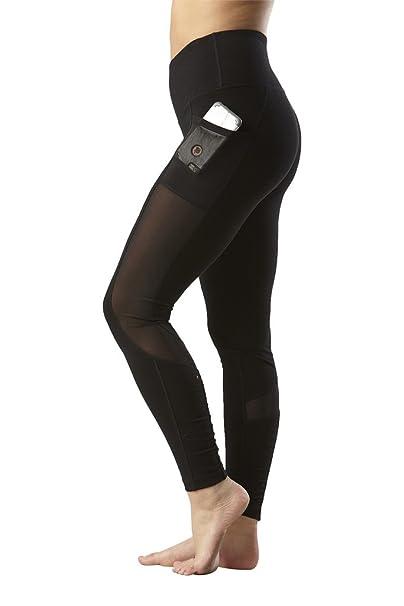 8796f85ed31fc Yogalicious High Waist Mesh Leggings with Phone Pocket - Tummy Control Yoga  Pants - Black -