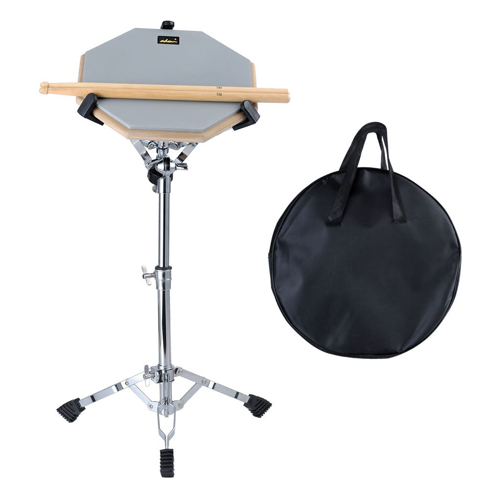 ADM 12'' Silent Snare Drum Practice Pad Percussion Set Double Sides Buddle with Stand Sticks Bag, Grey