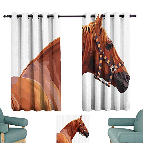 (DILITECK Windshield Curtain Animal Race Jokey Horse Pure Noble Animal Ride Hobby Nature Vehicle Artwork Paint Tie Up Window Drapes Living Room W55 xL45 White and Cinnamon)