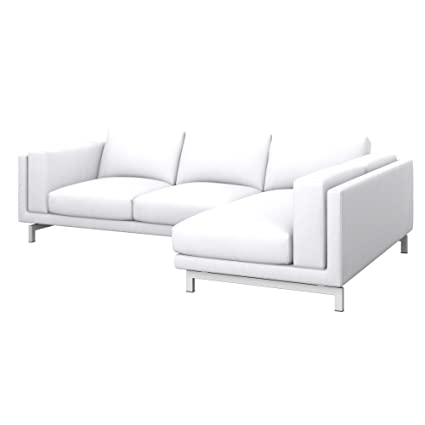 Soferia - Replacement Cover for IKEA NOCKEBY 2-seat Sofa with Right Chaise Longue, Eco Leather White