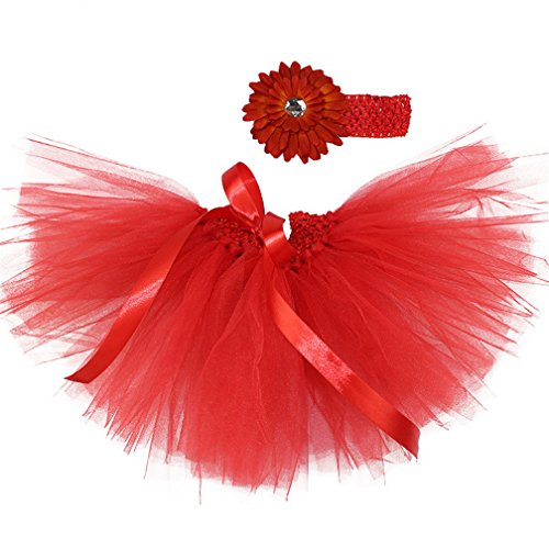 Newborn Baby Girls Birthday Layered Tulle Tutu Skirt Flower Daisy Headwear Outfits Red ()