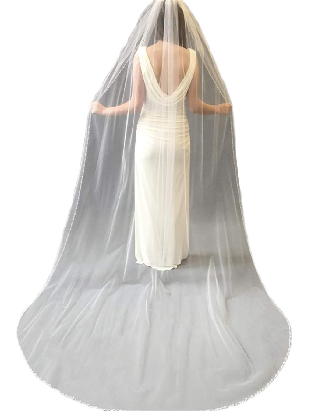 Passat Champagne Single-Tier 3M Cathedral Veil Edged with Clear Beads and Crystals VL-1013