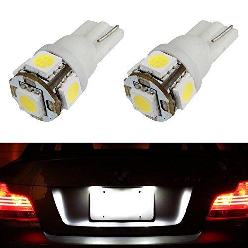 Partsam 2x 168 194 T10 5SMD LED Bulbs Car License Plate Lights Lamp White (Caprice Electric Lamp)