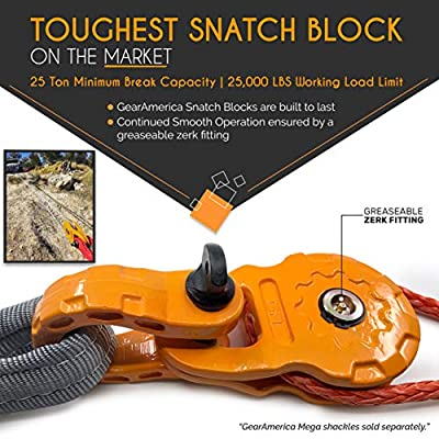 GearAmerica Mega Snatch Block 25T Strength (25,000 LBS WLL) | Heavy Duty Winch Pulley System for Synthetic Rope or Steel Cable | Offroad Like a Pro - Control Recovery Direction, Double Winch Power: Automotive