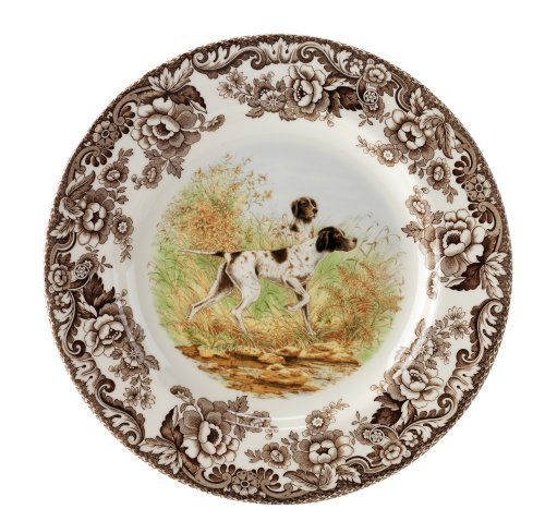 Spode Woodland Hunting Dogs Flat Coated Pointer Dinner Plate by Spode