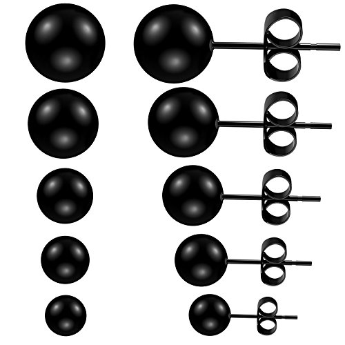 Feramox 316L Stainless Steel Stud Earrings Round Ball Earrings for Men Women Assorted Sizes 5 Pairs 3-7mm (Black)