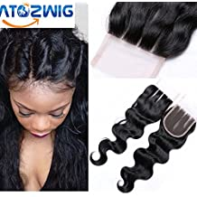 ATOZWIG Brazilian Body Wave Closure 3.54 Brazilian Closure Bleached Knots Cheap 7a Virgin Human Hair Lace Closure Free Middle 3 Part