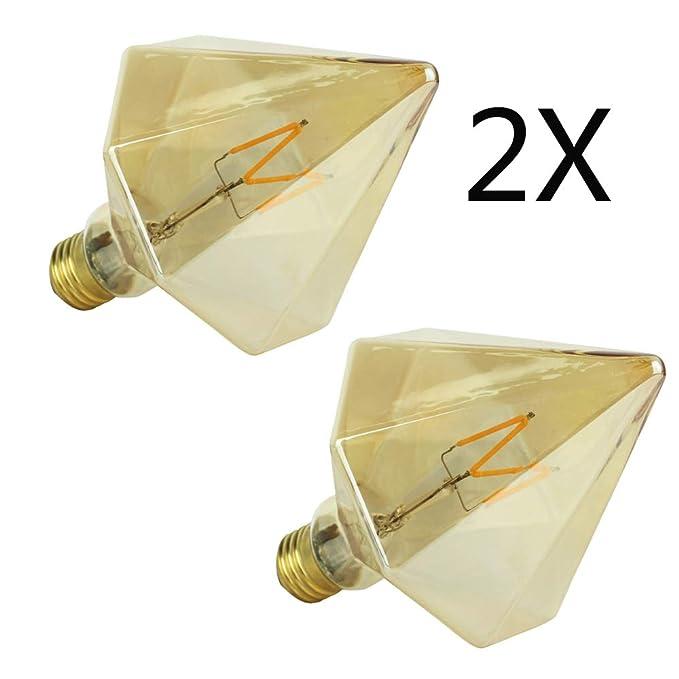 YWXR Edison Bombilla LED E27 Socket - 2 Piezas, 4W, 2700K,Blanco ...