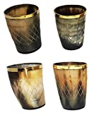 Set of 4 pieces Handicrafted Natural Horn Glass 3 inch Polished with brass trim To serve any Ale Ideal for Partys