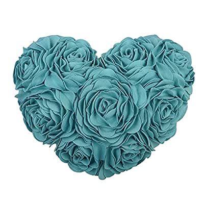 JWH 3D Handmade Rose Flowers Accent Pillow Decorative Wool Heart Shape Cushions Home Couch Bed Living Room Office Chair Car Decor Travel Lover Girls Gifts 13 x 16 Inch