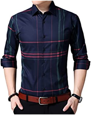 Mens Long Sleeve Slim Fit Casual Striped Button Down Dress Shirts!
