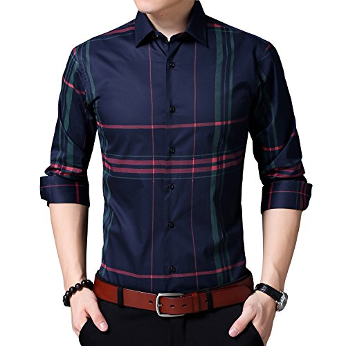 Womleys Mens Long Sleeve Slim Fit Casual Striped Button Down Dress Shirts