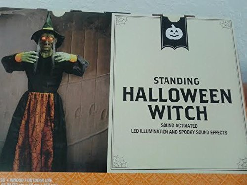 Standing Witch Halloween Prop Over 5 Feet Tall Sound Activated LED eyes Sounds by WLG