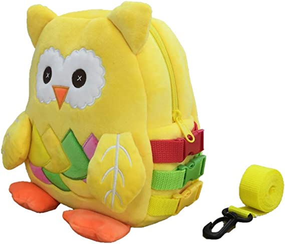 Plush Owl Toddler Backpack with Leash and Buckle for Baby Girls and Boys Aged 1-5