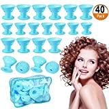 40 Pack Hair Curlers Rollers Magic DIY Hair Curlers No Clip Silicone Hair Style Tools Hair Accessories, No Heat No Damage to Hair (Blue)