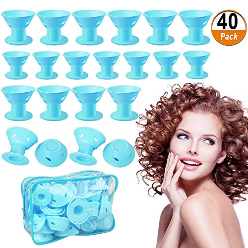 Rollers Magic DIY Hair Curlers No Clip Silicone Hair Style Tools Hair Accessories, No Heat No Damage to Hair (Blue) ()