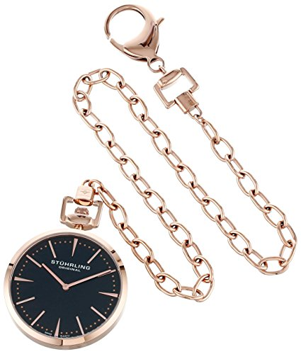 Stuhrling Original 815.03 Montres de Poche Pedigree Swiss Quartz Rose Tone Pocket Watch