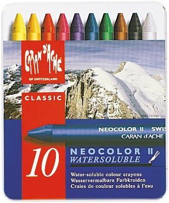 Caran d/'Ache Neocolor II Set Of 10 Watersoluble Wax Pastels ~ NEW
