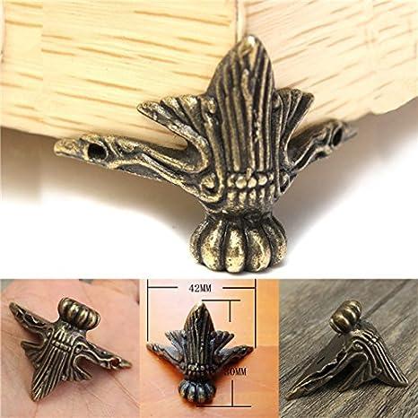 4pcs Mini Antique Bronze Metal Furniture Cabinet Leg Wooden Box Chest Feet
