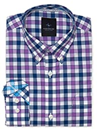 TailorByrd Purple/Navy Gingham Boys Long Sleeve Shirt