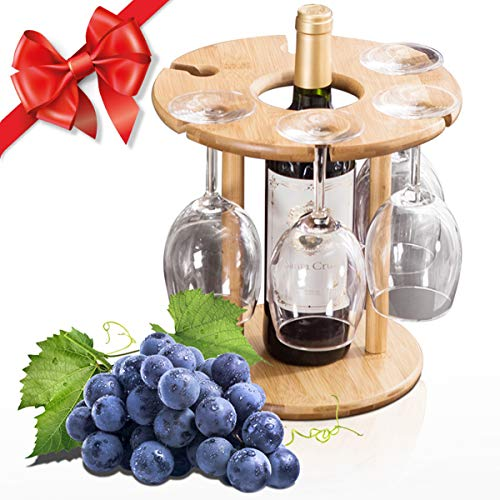 Luxury Wine Glass Holder, 100% Natural Bamboo Wine Bottle Holder, 100% Handmade Countertop Wine Rack with 6 Glass Rack & 1 Bottle Holder, Ideal Christmas Gift for Wine Lover