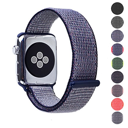 Pantheon Woven Nylon Replacement Apple Watch Band by, Sport Loop Edition, For Men or Women, Strap fits the 38mm or 42mm Apple iWatch, Compatible Series 1, 2, 3, Nike (Midnight Blue, 42mm) - Gray Nylon Strap