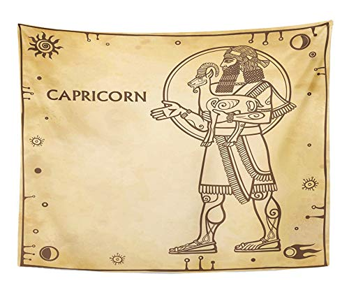 Emvency Tapestry Artwork Wall Hanging Beige Zodiac Sign Capricorn Drawing Based on Motives of Sumerian Full Growth 60x80 Inches Tapestries Mattress Tablecloth Curtain Home Decor Print
