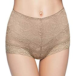 Eve S Temptation Janice Women S High Waist Lace Panties Tummy Control Seamless Slimming Underwear Full Coverage Brief Coffee X Large