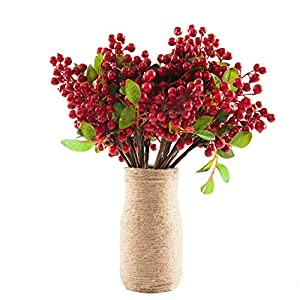 """SHACOS Artificial Red Berry Picks Pack of 20 with Green Silk Leaves 9.8"""" Tall Fake Berry Spray for Home Office Decor Wedding Decorations Crafts (20 PCS, Berry Red) 1"""