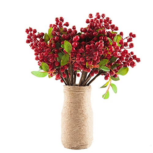 SHACOS Artificial Red Berry Picks Pack of 20 with Green Silk Leaves 9.8