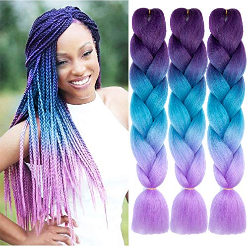 Synthetic Kanekalon Extensions Purple Lake Blue Light product image