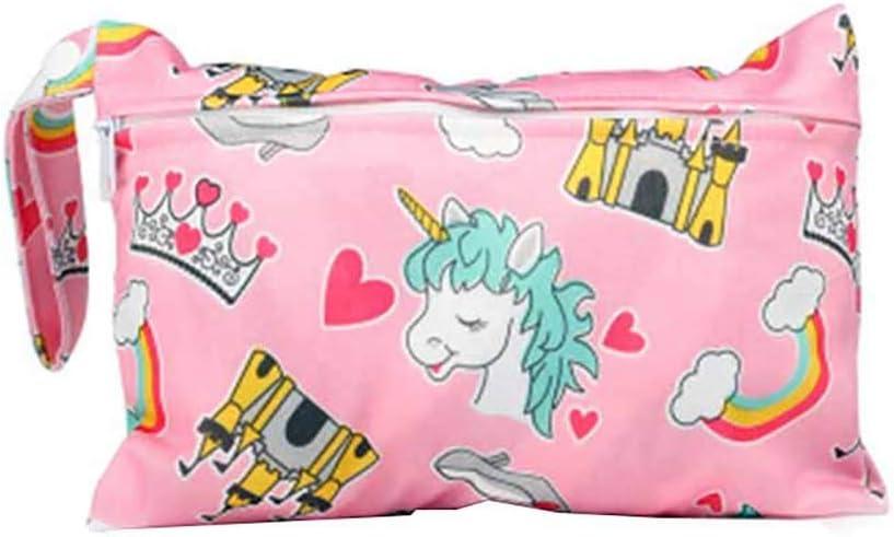 Scrox 1Pcs Mini Wet Dry Bag Baby Nappy Cartoon Organizer Bag Waterproof Reusable Cloth Diapers Portable Travel Bag Style B 15 * 22.5CM