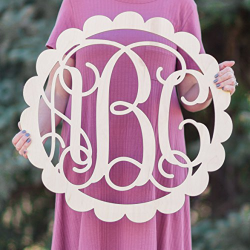- SALE 12-36 inch SCALLOP Wooden Monogram Letters Vine Room Decor Nursery Decor Wooden Monogram Wall Art Large Wood monogram wall hanging wood LARGE