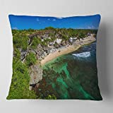 Designart CU9907-18-18 Balangan Beach Bali Indonesia' Seascape Throw Cushion Pillow Cover for Living Room, Sofa, 18 in. x 18 in, Pillow Insert + Cushion Cover Printed on Both Side