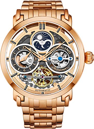 Stührling Original Mens Watch Stainless Steel Automatic, Silver Skeleton Dial, Dual Time, AM/PM Sun Moon, Stainless Steel Bracelet, 371B Watches for Men Series (Rose - Mens Rose Swiss