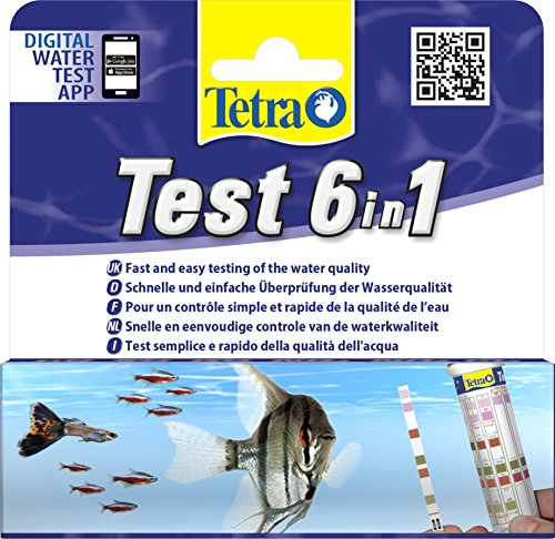 Tetra Test 6in1 (Wassertest für das Aquarium, schnelle und einfache Überprüfung der Wasserqualität), 1 Dose (25 Teststreifen)