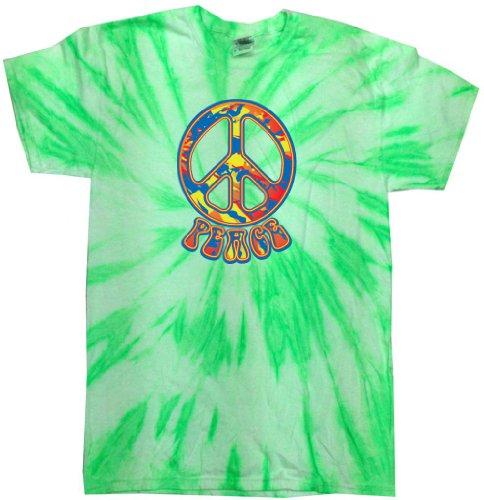 Yoga Clothing For You Mens Funky 70s Peace Tie Dye Shirt, 2XL Neon Kiwi